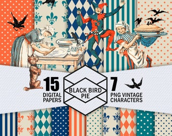 Black Bird Pie Digital Paper Pack, Digital Bundle Of 15 Patterned Papers, 7 PNG Characters, Digital Scrapbook, Instant Download