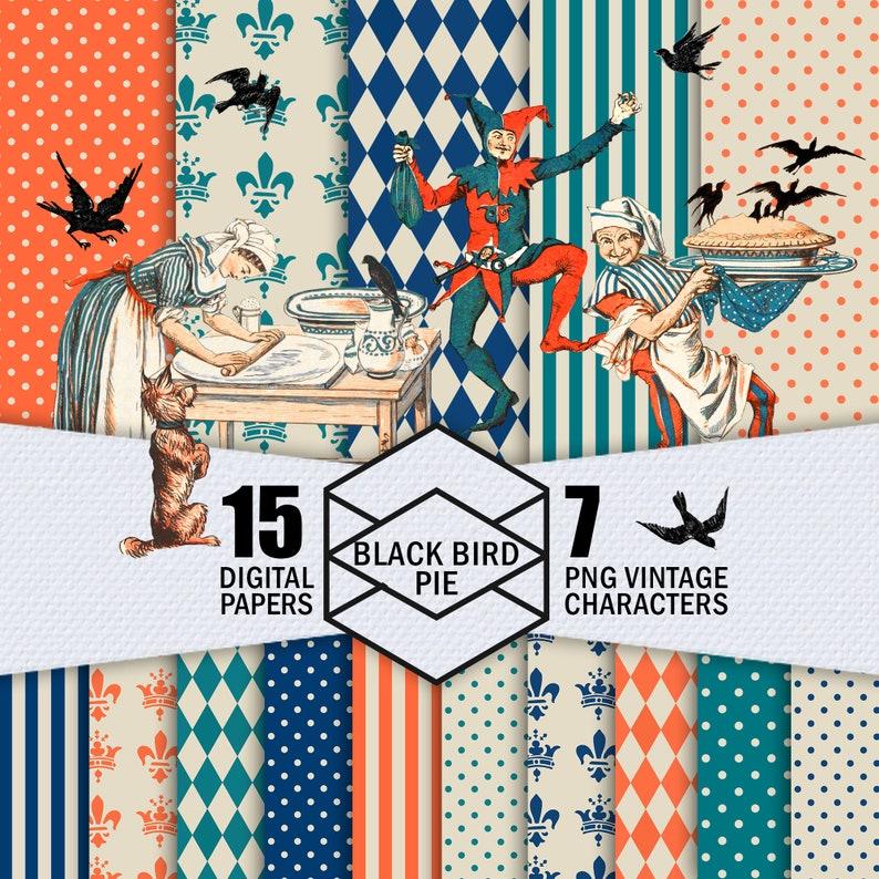 Black Bird Pie Digital Paper Pack Digital Bundle Of 15 image 0