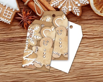 Gift Tags, Christmas Cookie Exchange Gift Tags, Gingerbread Cookie Tags, Holiday Bake Sale Tags, Digital Printable, Download And Print Now
