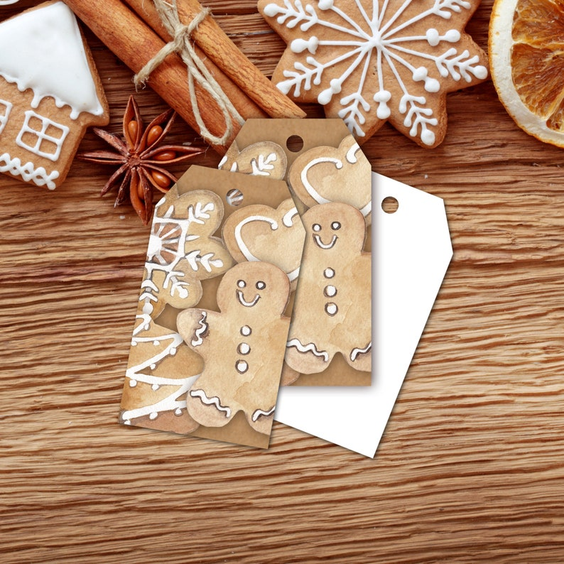 Gift Tags Christmas Cookie Exchange Gift Tags Gingerbread image 0