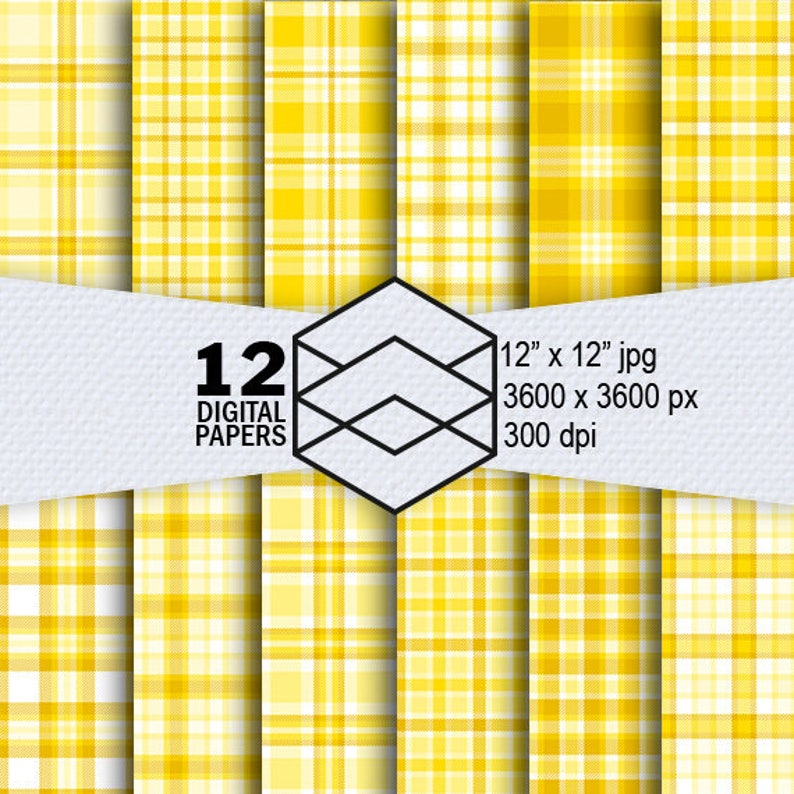 Yellow Plaid Digital Paper Instant Download 12 Yellow Plaid image 0