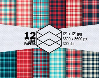 "Plaid Digital Paper American Retro Instant Download 12 American Retro Plaid Digital Paper Pack 300dpi 12""x12"" JPG Files, Craft Projects"