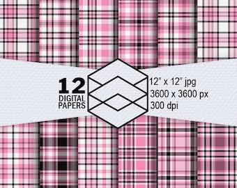 "Pink Black Plaid Digital Paper Instant Download 12 Plaid Digital Paper Pack 300dpi 12""x12"" JPEG Files Scrapbooking Crafting"
