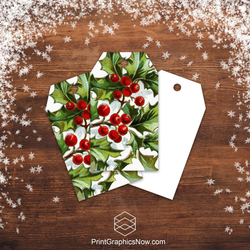 Christmas Gift Tags Holly Berry Holiday Gift Tags Digital image 0