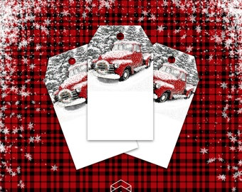 Gift Tags, Vintage Red Truck Wreath Christmas Gift Tags, Digital Printable, Download Print Graphics Now