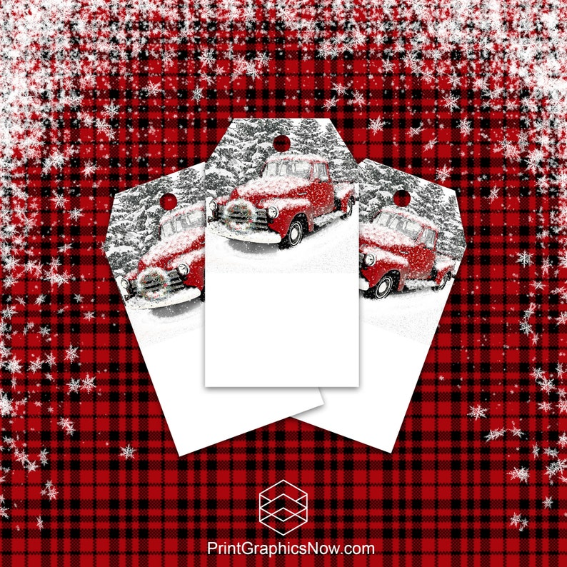 Gift Tags Vintage Red Truck Wreath Christmas Gift Tags image 0