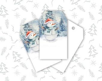 Gift Tags, Snowman Winter Holiday Gift Tags, Christmas Gift Tags, Hang Tags, Digital Printable, Download And Print Now