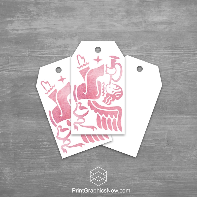 Christmas Gift Tags Angel Trumpet Pink Watercolor Holiday image 0