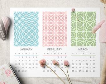 2018 Calendar Printable, Print From Home Twelve Month Calendar, Stylish Modern Design Patterns, Three Months Per Page