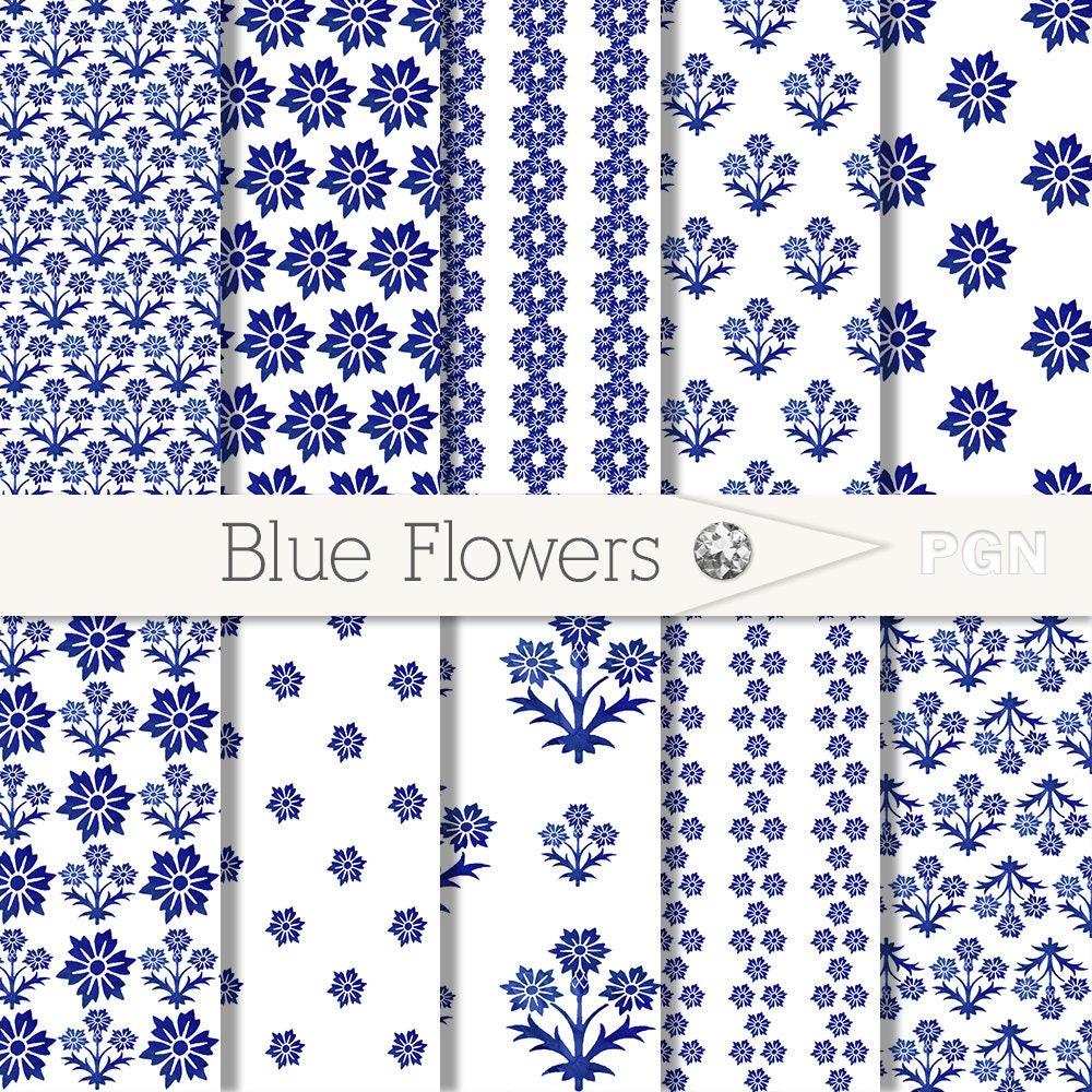 Blue Flowers Digital Paper Pack Blue Floral Print Digital Etsy
