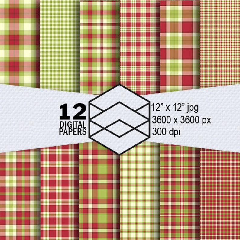 Plaid Tartan Digital Paper Tartan Plaid Instant Download 12 image 0