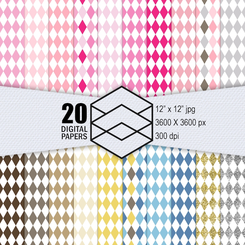 20 Diamond Patterns Diamond Checker Digital Paper Pack image 0