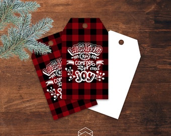 Buffalo Plaid Christmas Gift Tags, Wishing You Comfort and Joy, Digital Printable, Download Print Graphics Now