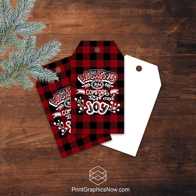 Buffalo Plaid Christmas Gift Tags Wishing You Comfort and image 0