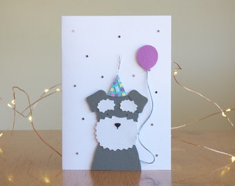Dog Birthday Card // Terrier //  Handcrafted Birthday Card // Handmade Greetings Card // Papercut and Papercraft