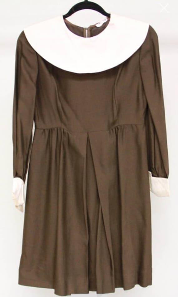 1960s Peter Pan Collar Dress Sz S-M - image 4