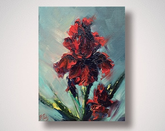 Iris flower painting original art red