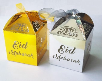 20pcs Eid Gift Box Gold Eid Mubarak Gift Box Happy Eid Decorations Eid Supplies