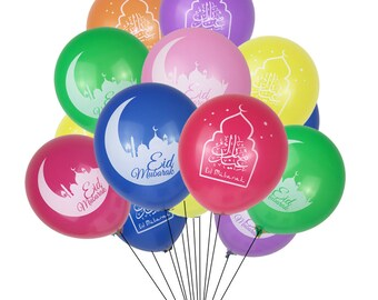 50pcs Eid Mubarak Balloon Gold Eid Decorations Silver Eid Decorations Colorful Eid Balloons