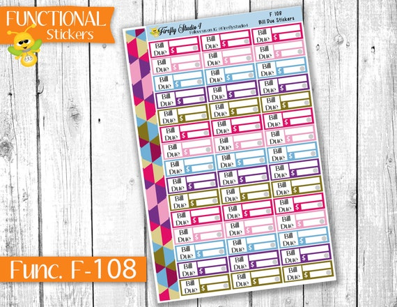 Erin Condren Bill Due Functional Planner Stickers for All Planners Types UK