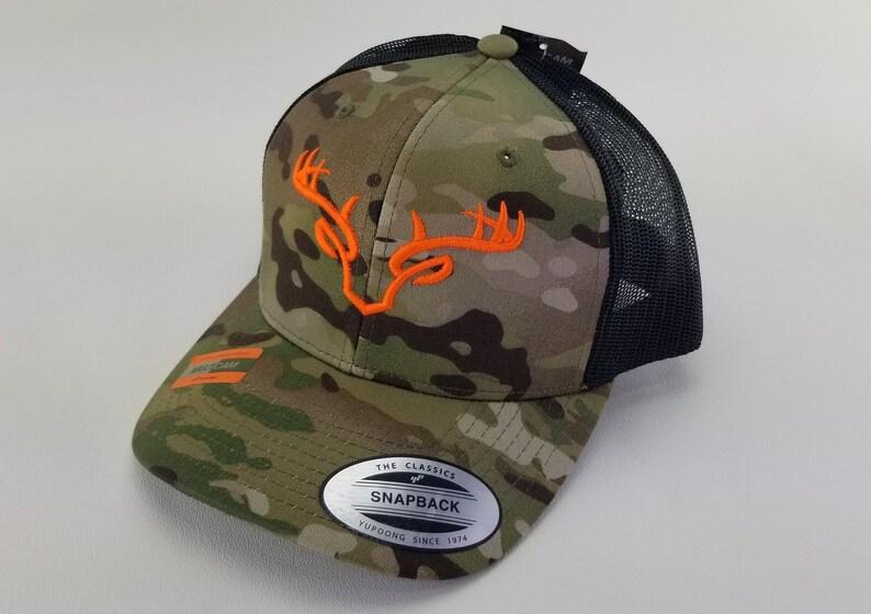 eafc19a9 Multicam hunting trucker hat deer skull antlers embroidery | Etsy
