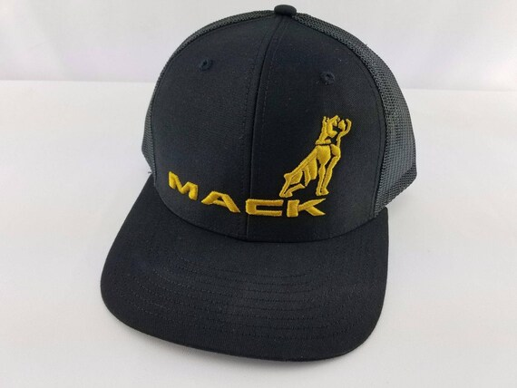 6afc4a479 MACK hat, embroidered hat, Mack Trucker hat, semi truck driver hat, 3D  embroidery, Custom Made Hat, bulldog hat, Yupoong, gold, personalized