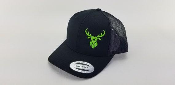 5f490801b Black deer hunting hat, hunters head wear, MAD Buck, deer head skull  embroidery, snapback trucker hat, hunting gifts for men, hunting life