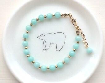 Amazonite Gemstone Bracelet with Gold Colour Beads