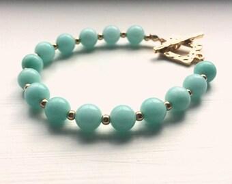 Amazonite Gemstone Bracelet with Gold Toggle Clasp