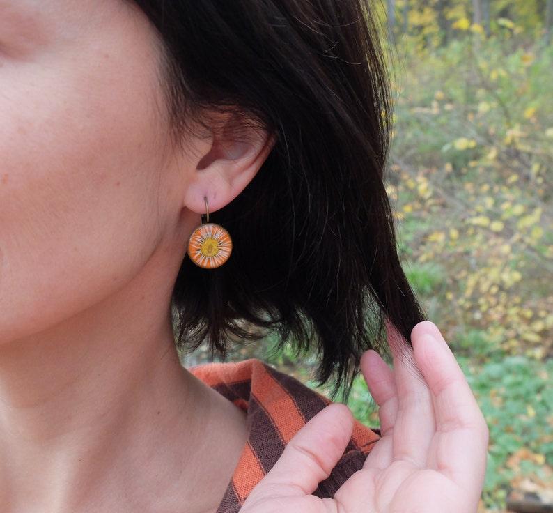 resin flowers jewelry friendship gift girl pressed flower dried plants,daisy drop earrings Real daisy earrings botanical earrings