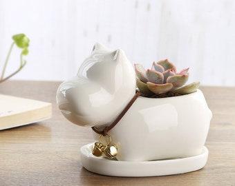 Hippo Ceramic Flower Pot Succulent Ceremic Planter Pottery Terrarium Home Decor Airplant Holder Home Decor Office Decor HP086