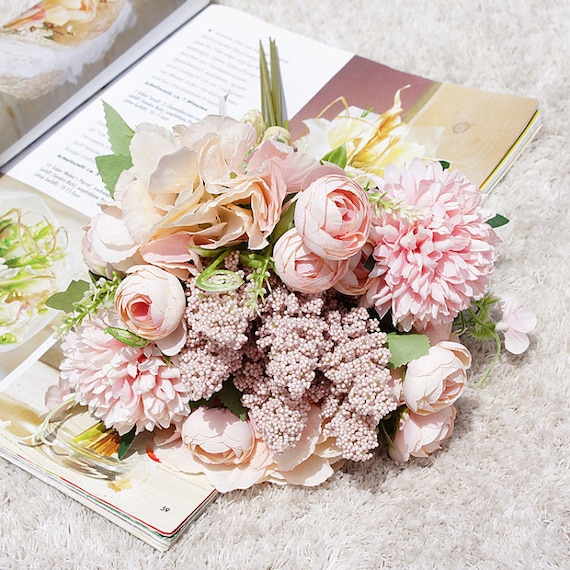 Rose Bouquet Peony Bunch 18 Rose Flowers Stemsartificial Etsy