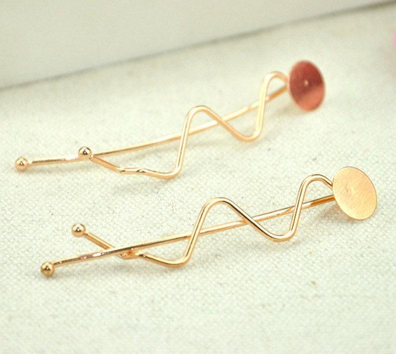 Hair Findings MA033 70mm Pin Hair Accessories 10mm glue pad Cabochon Bobby Pins Set of 10 Hair Clips