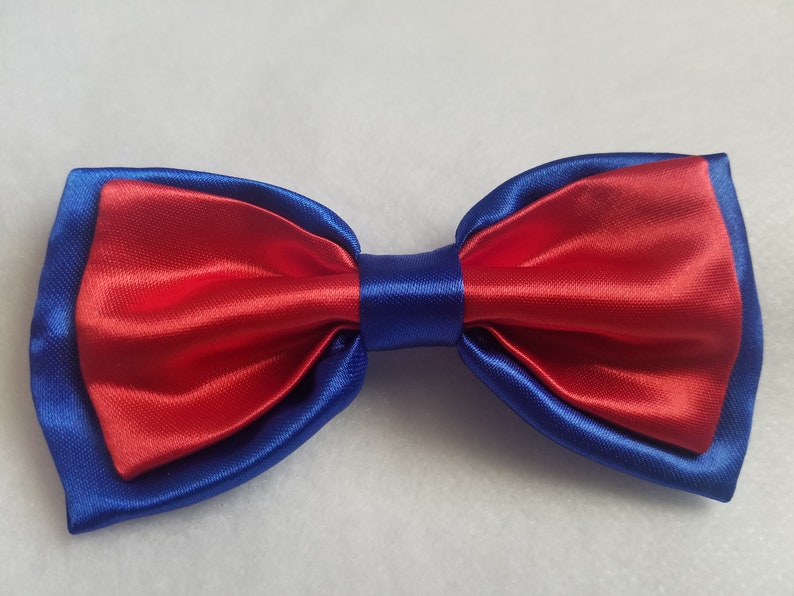 2771381c4567 Royal Blue Red Satin Double Bow tie for kids boy toddler or | Etsy