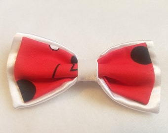 White Satin + Mickey Mouse Red Double Bow tie for kids boy toddler or baby Sizes NB - 7 Yrs
