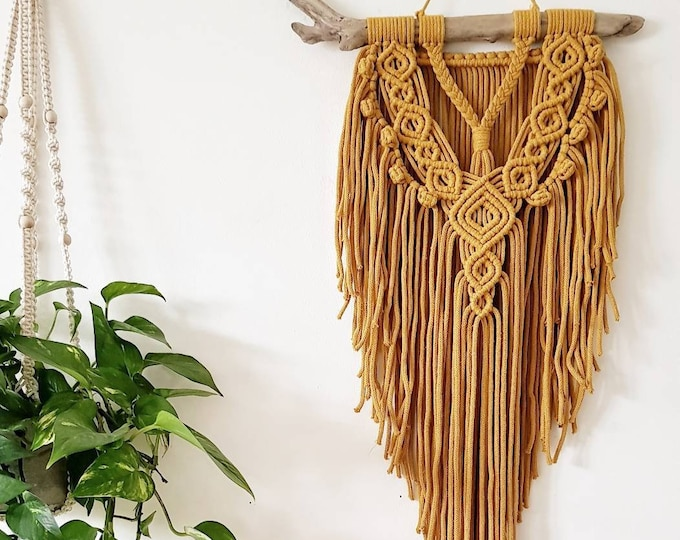 Honey - medium macrame wallhanging / tapestry made from organic and recycled materials in the color of your choosing