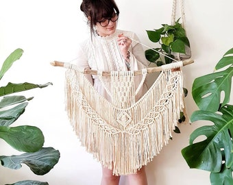 Nellie - macrame wallhanging / tapestry in sizes: M and L made from organic and recycled materials in the color of your choosing