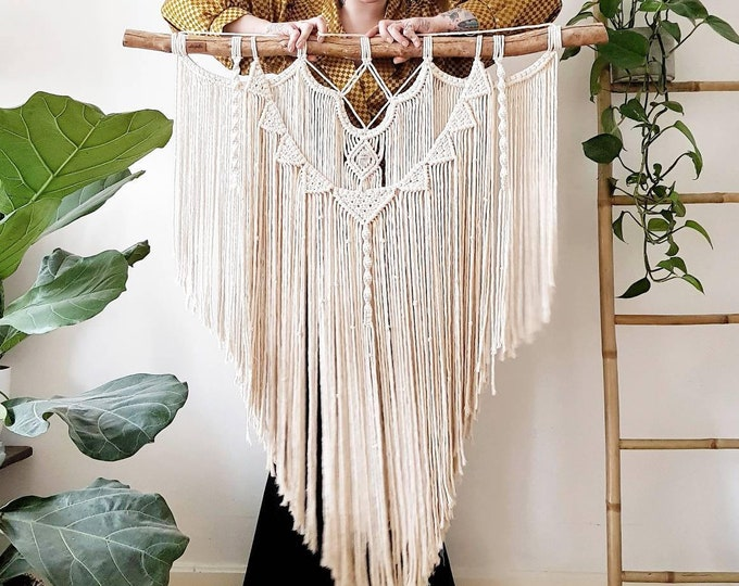 Emmie - large macrame wallhanging / tapestry made from organic + recycled materials in the color of your choosing
