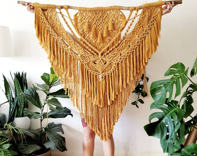 Ina - extra large macrame wallhanging / tapestry made from organic + recycled cotton in a color of your choosing