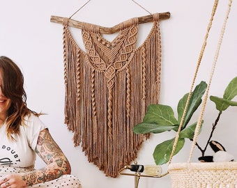 Coco - large macrame wallhanging / tapestry made from soft, warm chocolate colored cotton with spiral details on driftwood