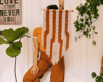 Lucy - large macrame banner / wallhanging / tapestry made from materials in nougat and terra-cotta colors on clean and sanded driftwood