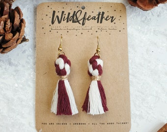 Wild And Feather macrame earrings: Dots - Candy cane glögg