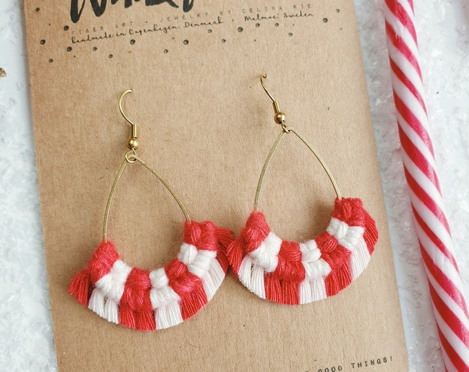 Wild And Feather macrame earrings: Drops - candy cane red