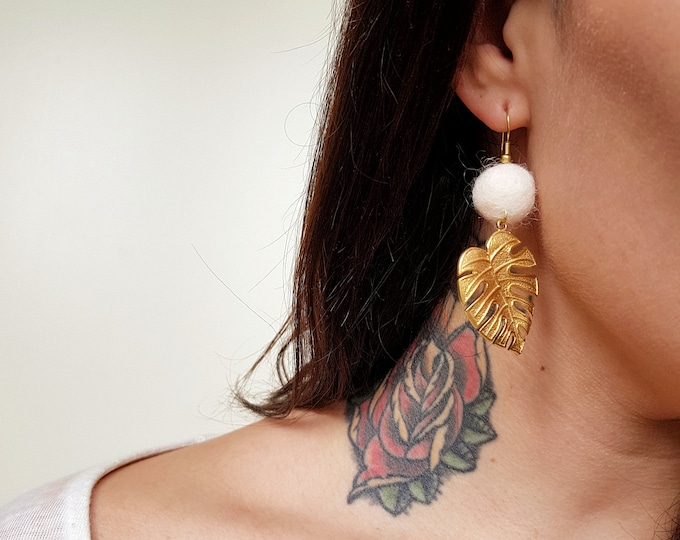 Brass+Cotton collection - Monstera earrings
