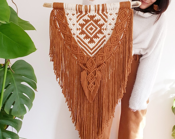 Ayla - large macrame wallhanging / tapestry made from materials in natural cotton tone and a color of your choosing