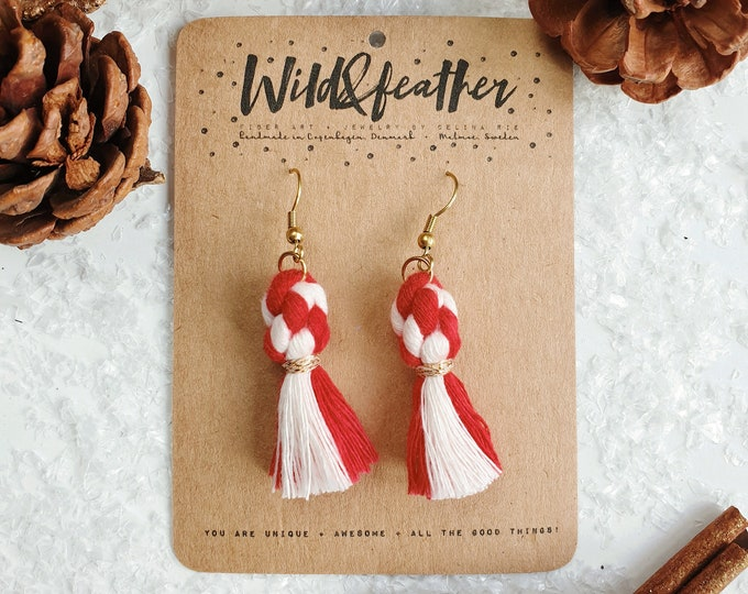 Wild And Feather macrame earrings: Dots - Candy cane red