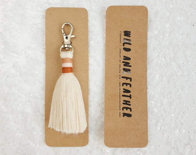 Wild And Feather macrame tassel keychain / bag tassel - natural, blush, terracotta