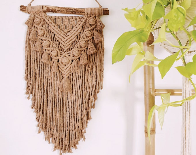 Nugget - small macrame wallhanging / tapestry made from chocolate brown colored cotton with tassels