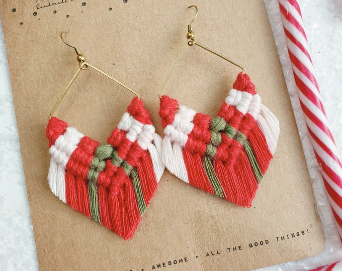 Wild And Feather macrame earrings: Molly luxe - red