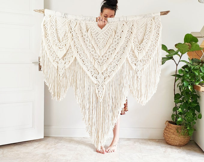 Summer - extra large macrame wallhanging / tapestry made from natural, organic and recycled cotton with little gold strands on driftwood